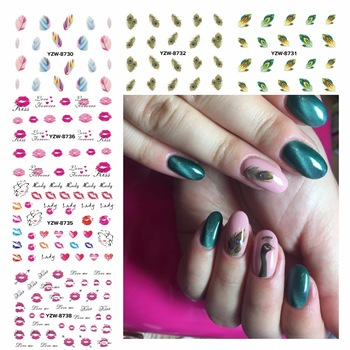 ZKO Watermark Nail Stickers Feather Lips Designs Nail Art Water Transfer Sticker Decals Nails Wraps Decor