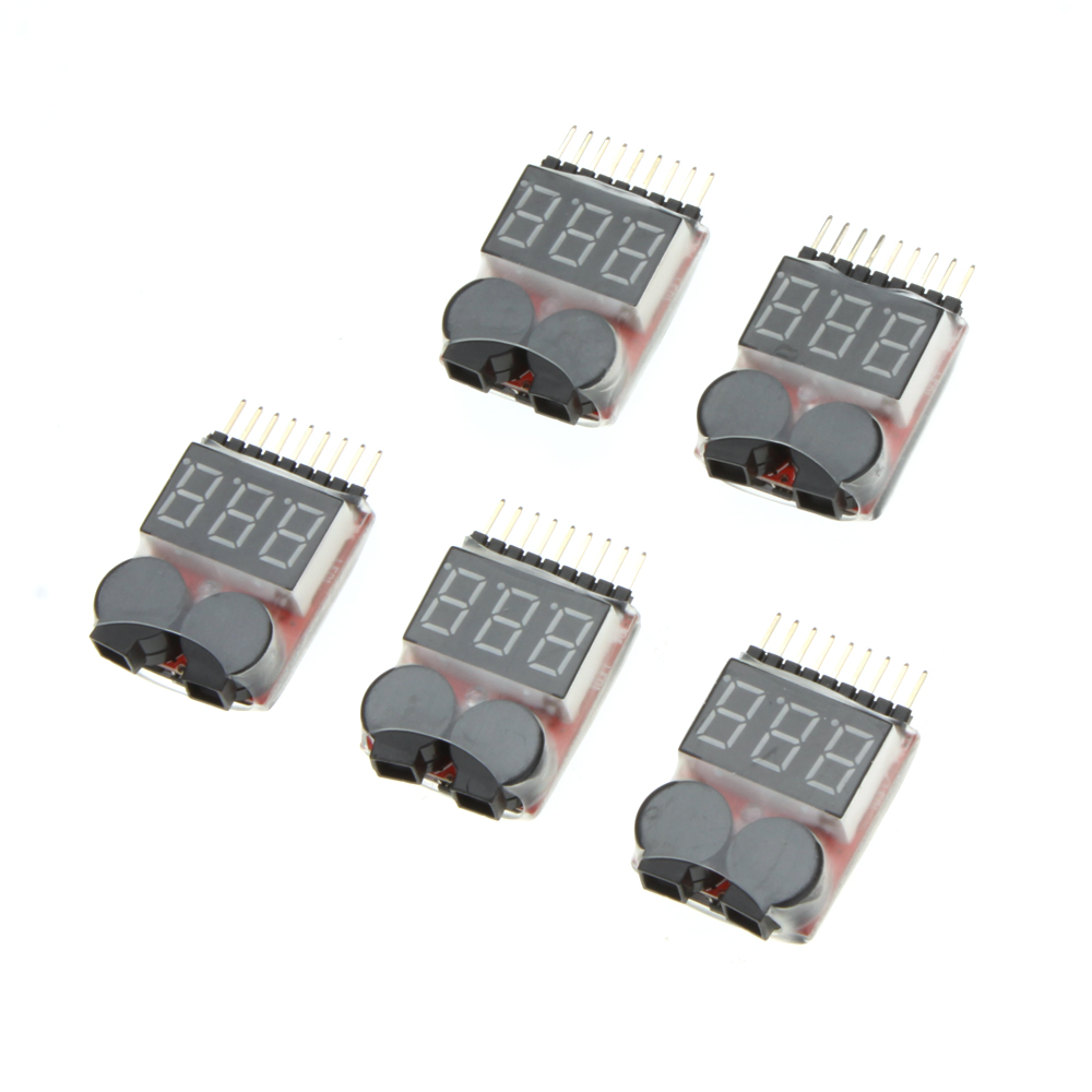 5PCS 1-8S Indicator Li-ion Lipo Li-Fe Battery Tester Low Voltage Buzzer Alarm for RC Car Drone Quadcopter Boat Model Part (4)