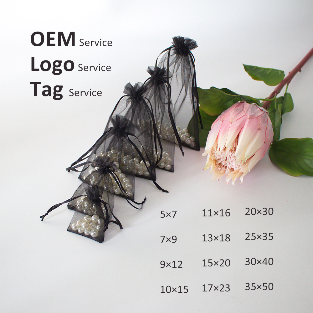 50Pcs 5×7 7×9 9×12 10×15 Multi Size Organza Bag For Jewelry Packing  Drawstring Organza Pouch For Wig Lash Can Customized Logo