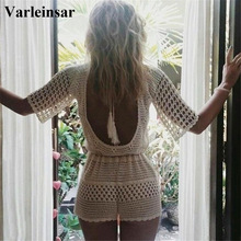 Swimsuit Beachwear Cover-Ups Crochet White Women Bikini Hollow-Out Knitted New Backless
