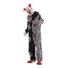 Clown-Costume Jumpsuit Scary-Masks Fancy Dress Jester Creepy Halloween Role-Play Adult