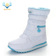 BUFFIE Winter Boots Footwear Warm-Shoes Zipper Natural-Wool White-Color Mid-Calf Big-Size