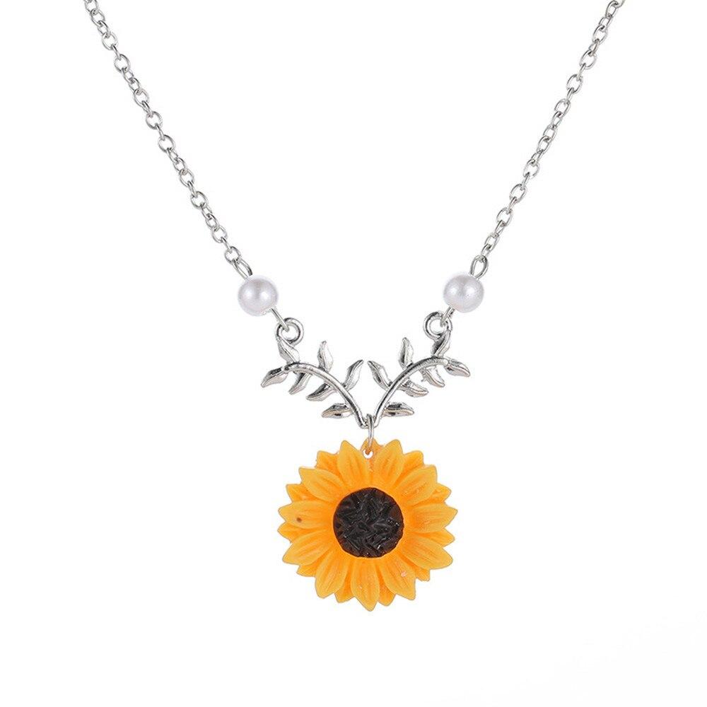 2019 Sunflower Pendant Necklace Earring Women Imitation Pearls Jewelry Newest