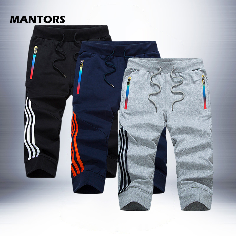 Casual Shorts Pants Joggers Capri Bermuda Slim-Fit Street Men's Summer Stripe title=