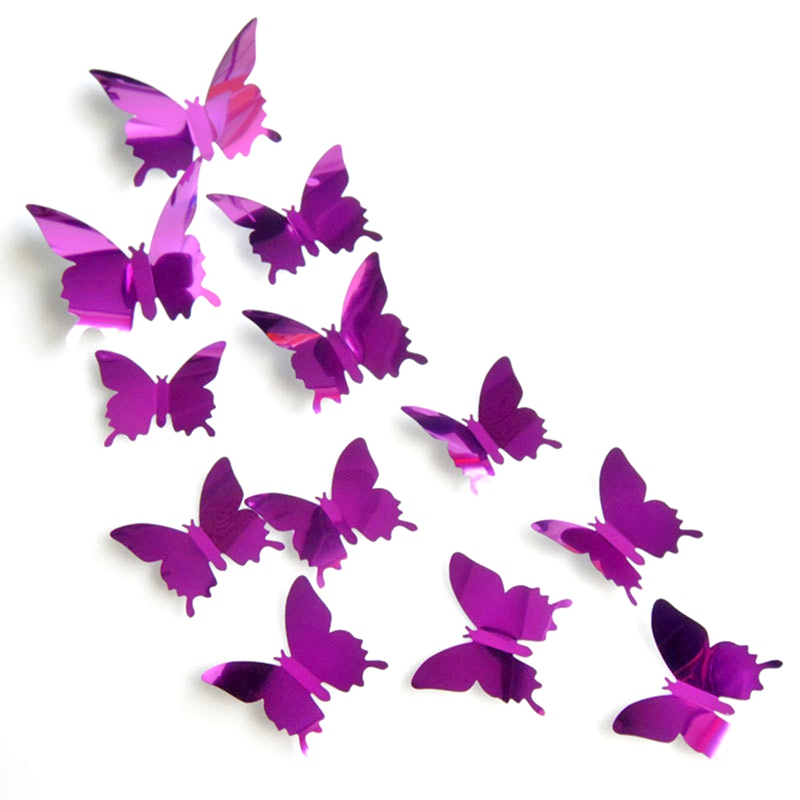 12PCs/set 3D Mirror Butterflies Wall Sticker Home Decoration Sliver Beautiful Butterfly for Kids Room Wall Decals On the Wall