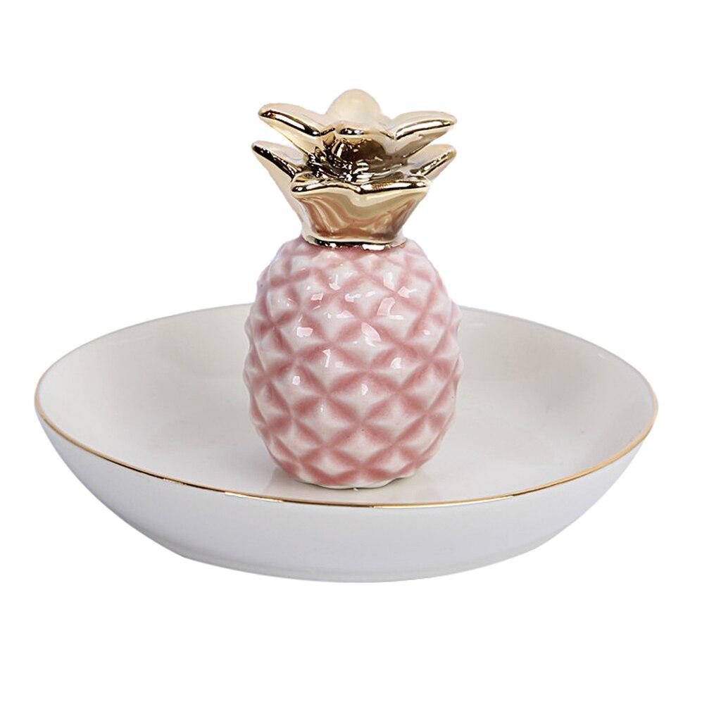 White Porcelain Ceramic with Gold Edge Tray Ananas Dish Key Trinkets Ring Holder Room Decor Plate