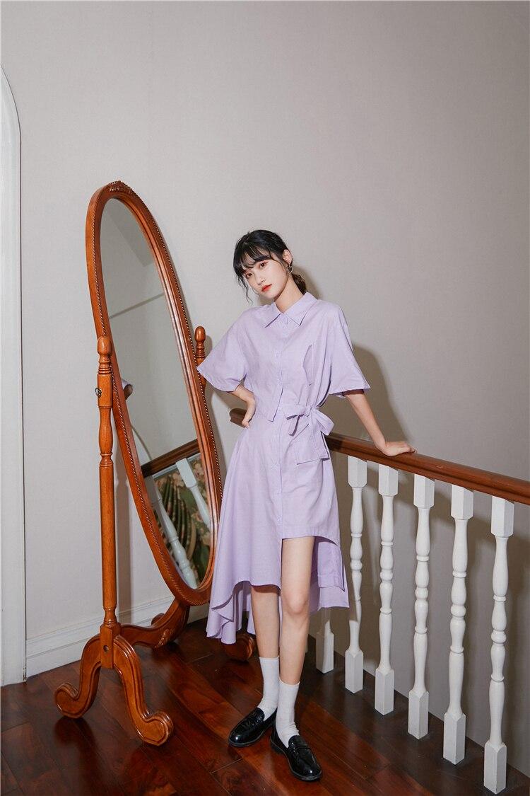 He85ebdf6dd3a49da80ac7d9896f153905 - Summer Korean Turn-Down Collar Short Sleeves Buttons Lace-Up Asymmetrical Long Shirt Dress
