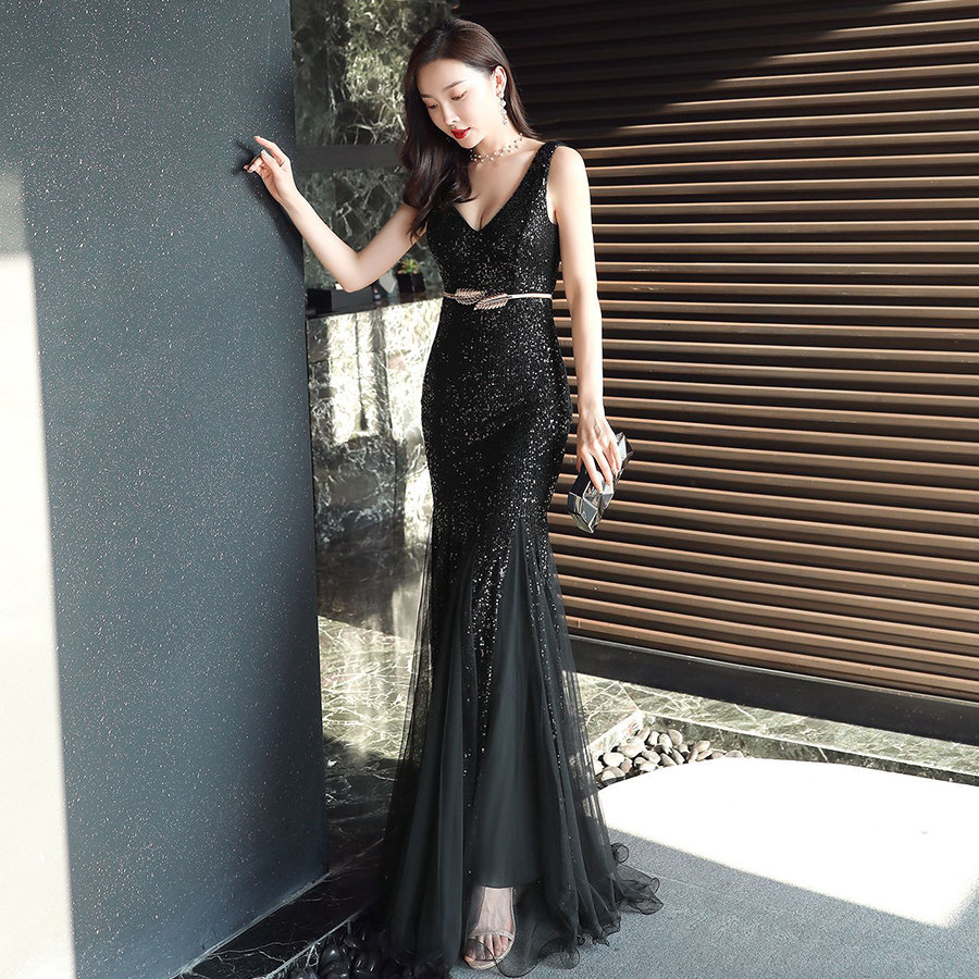 V-Neck Mermaid Evening Dresses Plus Size Sleeveless Women Party Dresses Robe De Soiree DX235-2 2019 Black Sequins Formal Dress