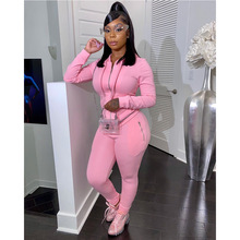 Women Outfits Tracksuit-Suit Pocket-Trousers Hooded-Cardigan Two-Piece-Set 2pcs Long-Sleeve