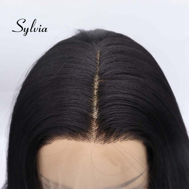 Sylvia 6*13Synthetic Lace Front Natural Black Wigs For Women Hair Long Straight Hair Wigs Heat Resistant Fiber Hair Wigs