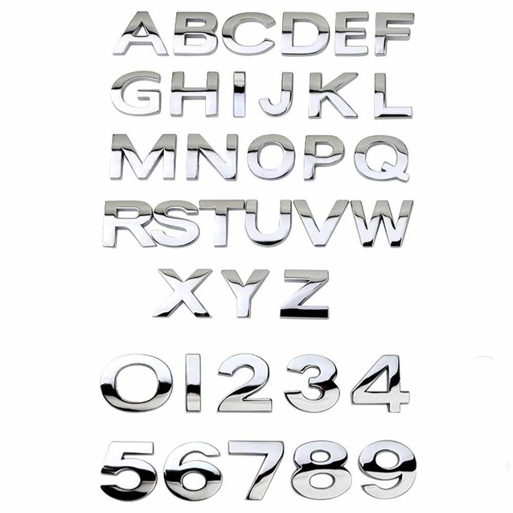 Car 3D letter English letters Car logo DIY alphanumeric metal body stickers word mark tail silver For BMW For Audi For Ford