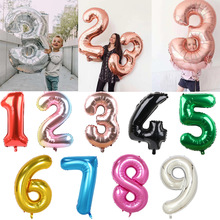 Number Balloon Figures Birthday-Party-Decoration Air-Helium Big-Foil Silver Green Kids