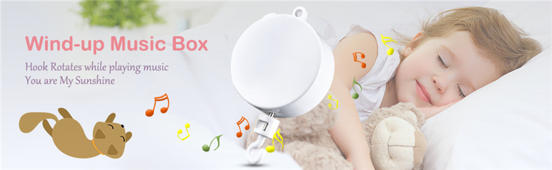 Tifanyyg 360 Degree Rotate Bracket Unique Design Baby Crib Mobile Toy Baby Bed Bell Toy Wind-up Music Box