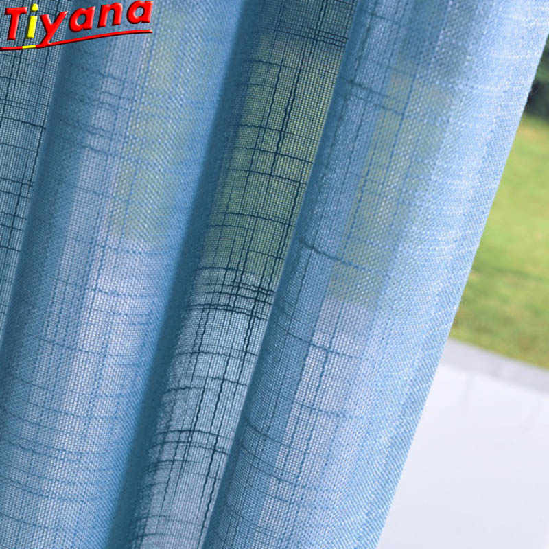 Modern Solid Blue/Beige/Green Tulle Sheer Curtains for Living Room Kitchen Door Curtain Bay Window WH062#40