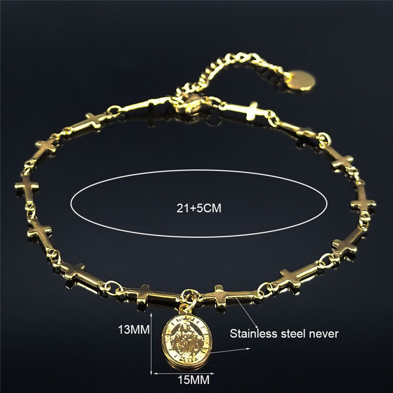 AMDXD Anklets for Young Girls Stainless Steel Polished Cross Anklets Chain Summer Anklet for Women Rose Gold 28CM