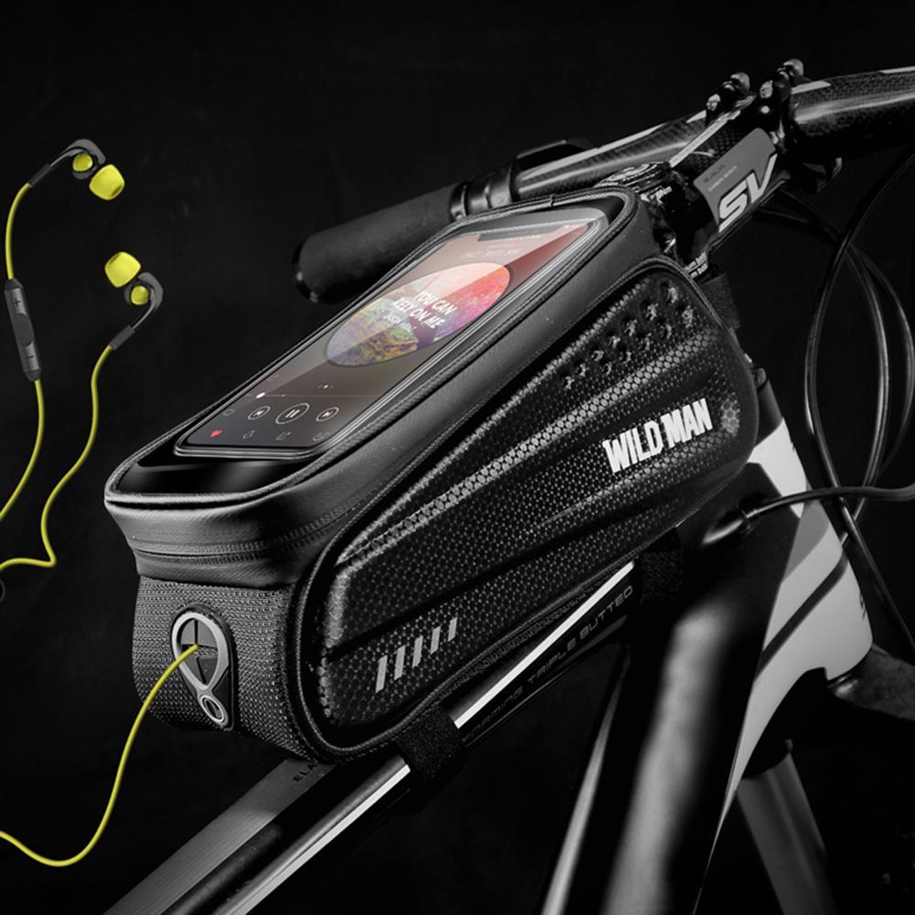 WILD MAN Waterproof MTB Bicycle Phone Bags Touch Screen Bike Top Tube Pouch Bag