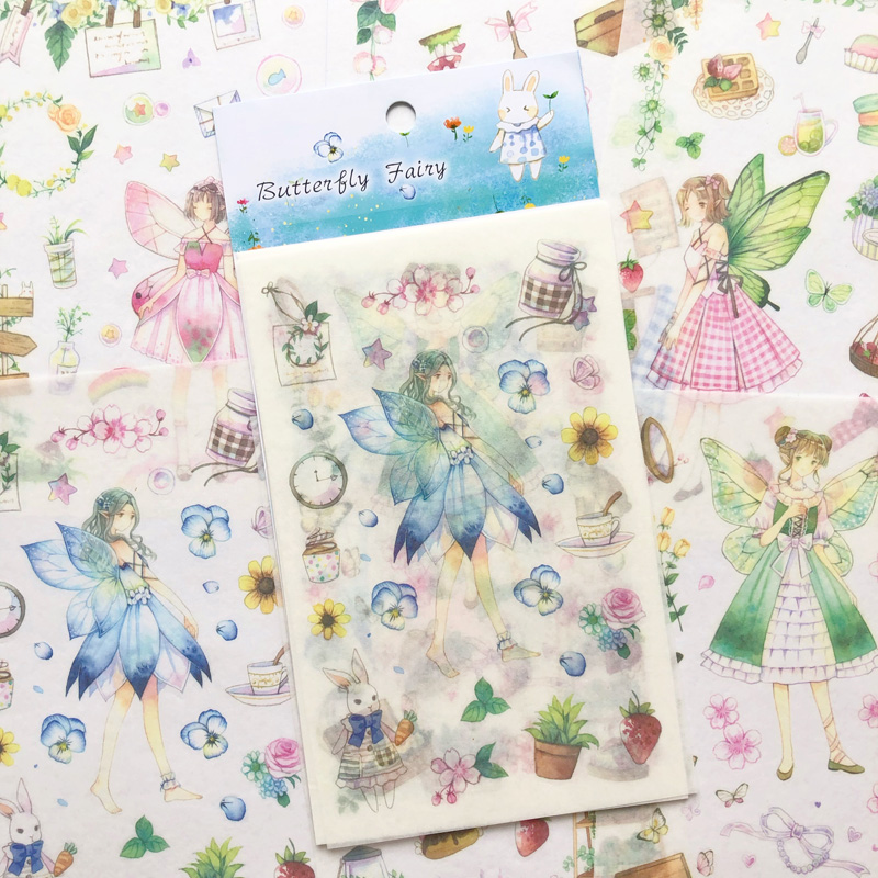 6 Sheets Butterfly Fairy Girls Adhesive Stickers Decorative Album Diary Paper Hand Account Decor