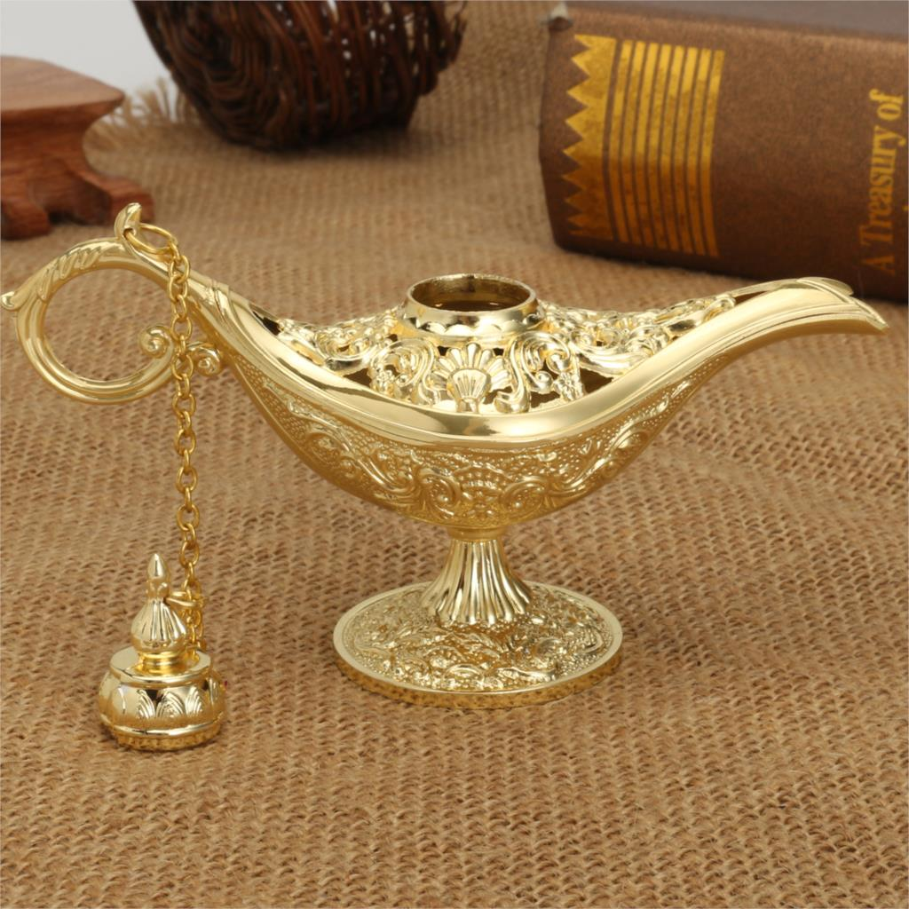 Honoro Vintage Aladdin Magic Genie Lamp,Metal Wishing Light for Home Wedding Party Table Decoration Delicate Gift,Large Bronze