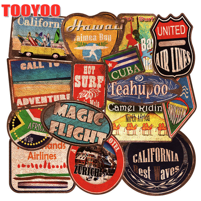 36Pcs/set Retro America West Cowboy Travel Stickers For DIY Luggage Bags Phone Laptop Graffiti Sticker Waterproof DIY Decals