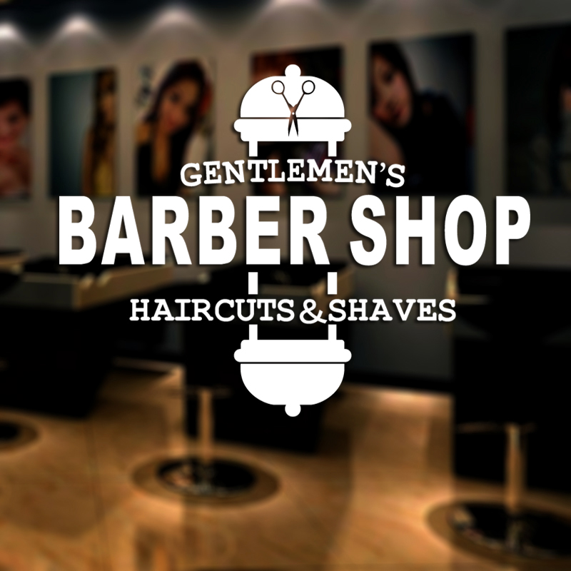Barber Shop Sticker Gentlemen Chop Bread Decal Haircut Shavers Posters Vinyl Wall Art Decals Decor Windows Decoration Mural
