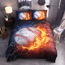 Bedding Sets 2/3pcs 3D Duvet Cover Comforter Bed Sheets Pillow Cases Queen King Full Twin Size Flame Baseball Single Bed Sets(China)