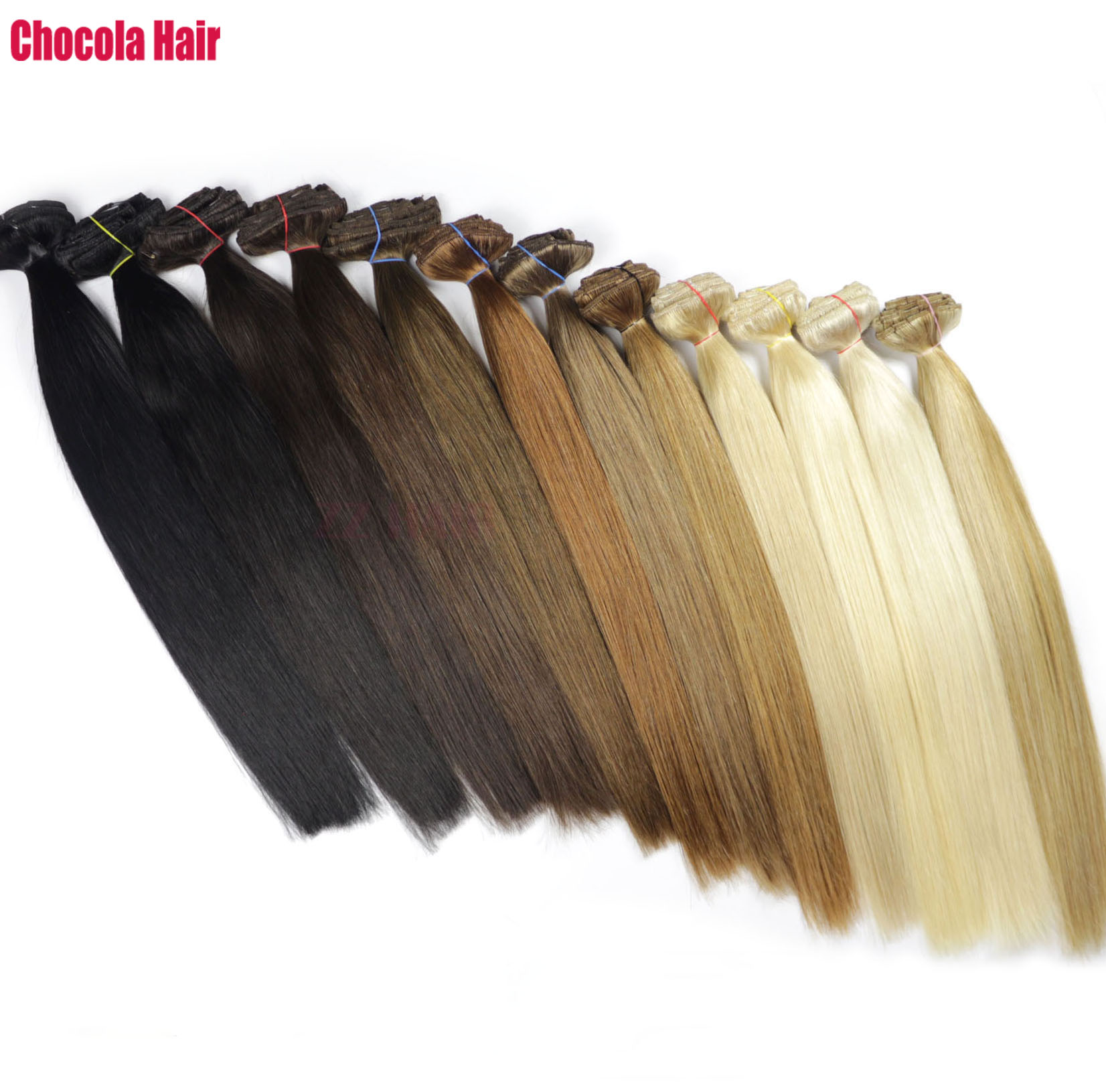 Human-Hair-Extensions Clip-In Remy-Hair Straight Natural Brazilian 180g Set 10pcs 16-28-Machine-Made title=
