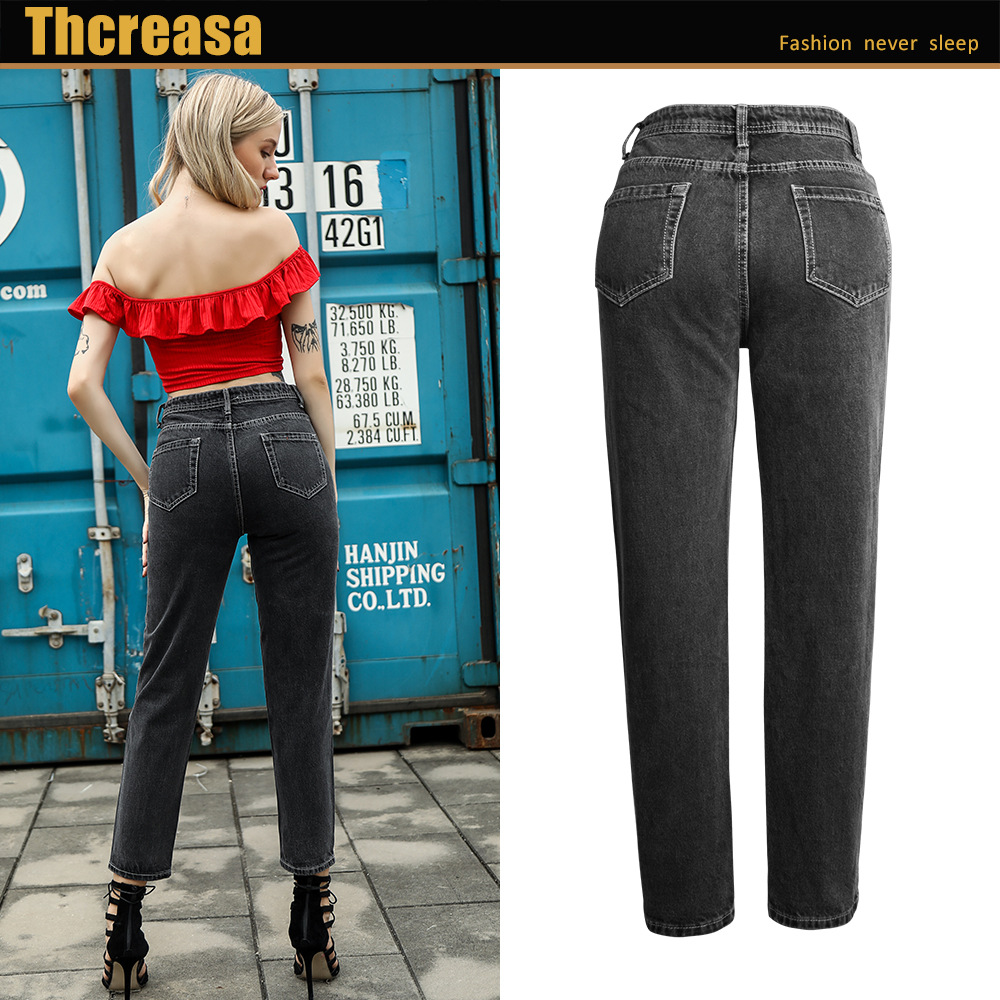 European Station Women/'s Pants European and American Plus Size Fashion Dark Jeans Loose Pants Boyfriend Straight Tube Nine Point
