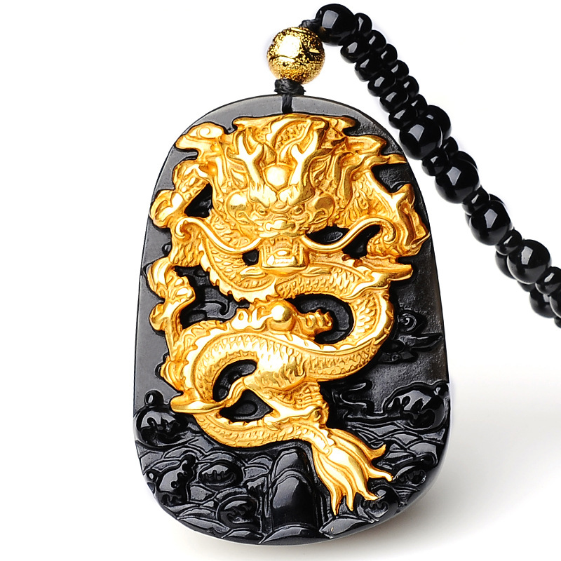 Drop Shipping Men Necklace Pendant Natural Obsidion Patron saint gilded  Dragon  Pendant Gift for Fine Jewelry Free Chain