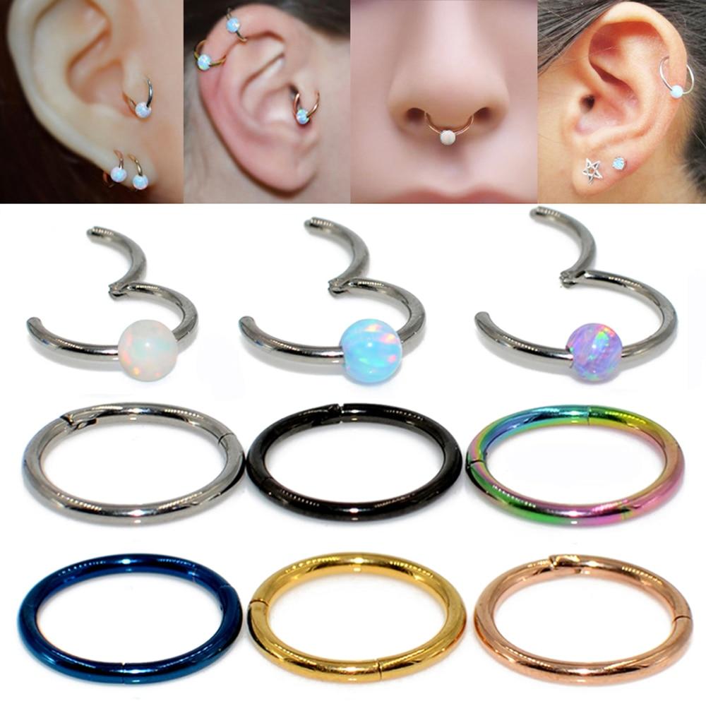 1Pc Steel Segment Rings Nose Ear Septum Hoop Ear Cartilage Piercings Lip Tongue Ring Piercing,Labret Ball 6Mm,Silver