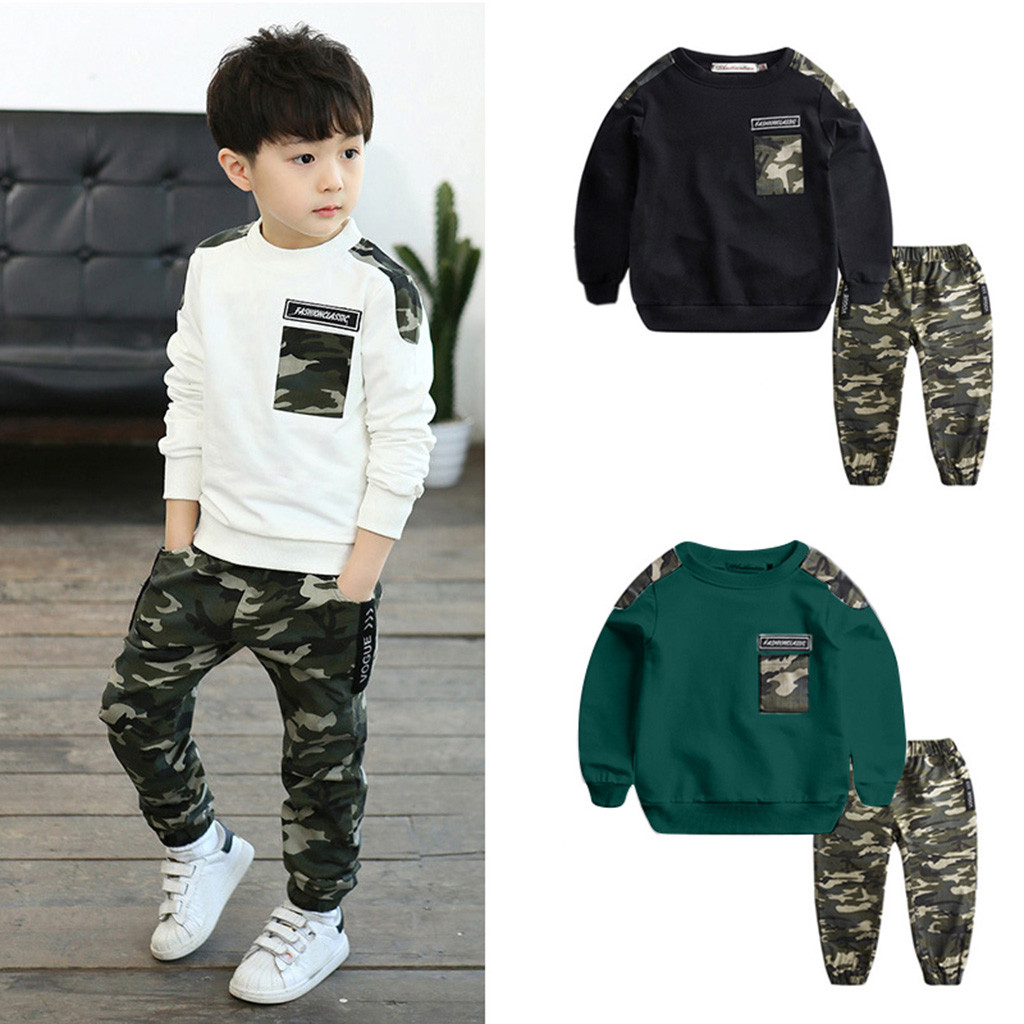 Baby Boys Camouflage Long Sleeve Tops+Pants Casual Outfits Winter Warm Clothes
