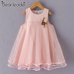 Платье для девочки с аппликацией Bear Leader, цельнокроеное приталенное платье без рукавов с цветами, на возраст от 3 до 7 лет, 2019