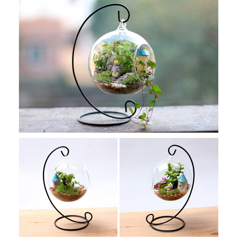 White Vosarea Iron Spiral Ornament Display Stand Flower Plants Hanging Stand Rack Holder Hanging Glass Globe Air Plant Terrarium Witch Ball Christmas Ornament Home Wedding Decoration