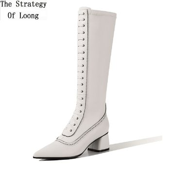 Spring Autumn New Slim Fashion Genuine Leather Women Knee-High Boots Pointed Toe Cross-tied Sewing Ladies Long Botas 20200901