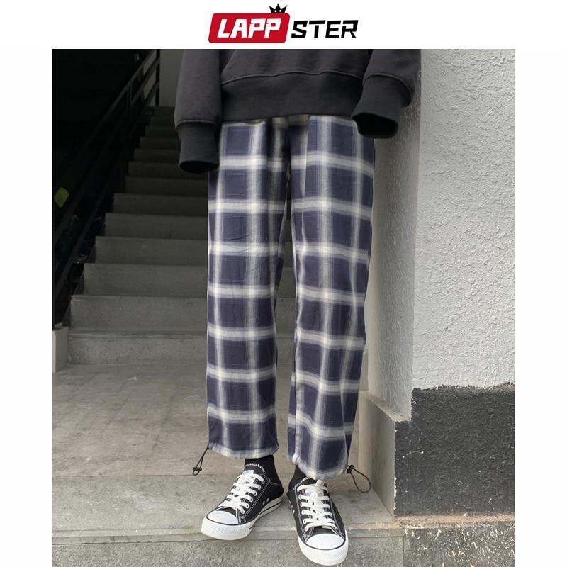 LAPPSTER Mens Harajuku Plaid Pants Kpop 2020 Harem Pants Vintage Cargo Pants Pockets Baggy Wide Leg Joggers Spring Sweatpants