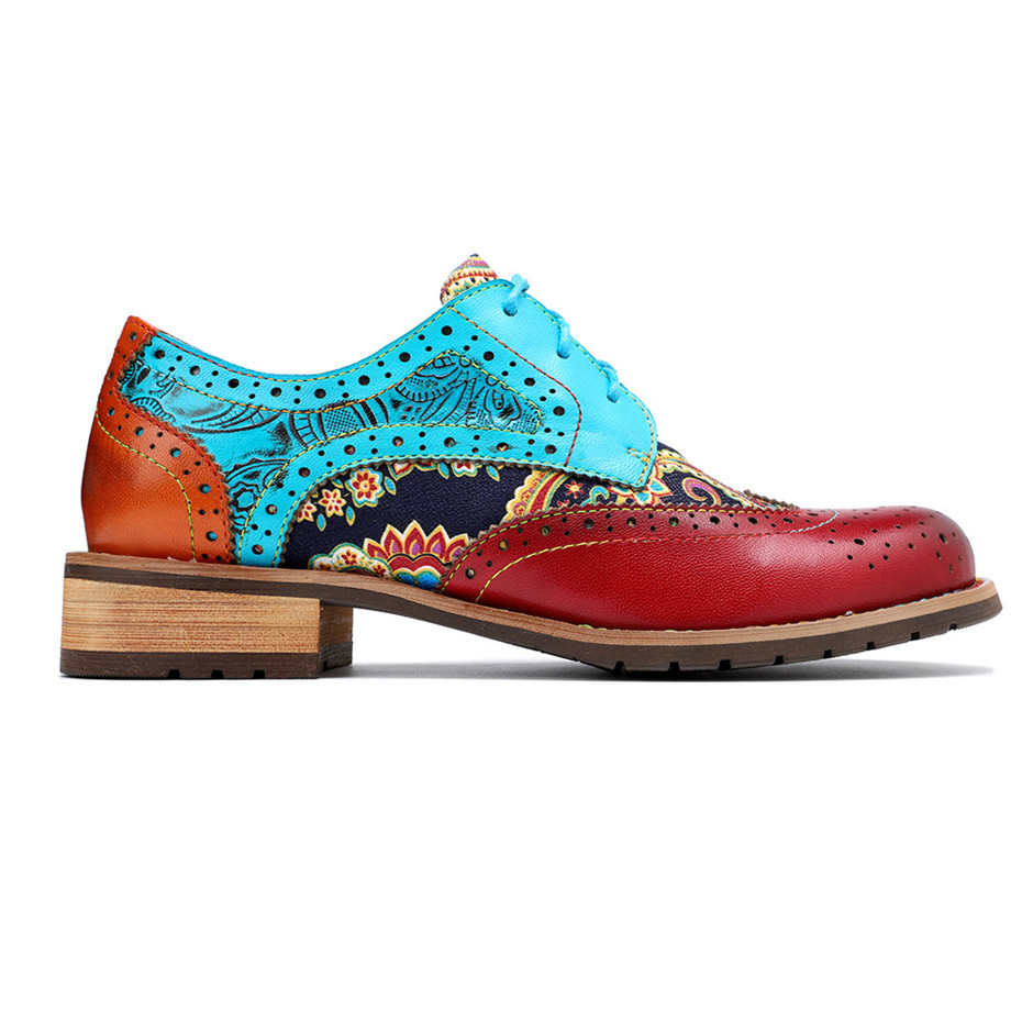 2020 New Spring Casual Women Brogues Shoes Handmade Genuine Leather Women Flats Oxfords Shoes Retro Carved Lace Up  Lady Oxfords (15)