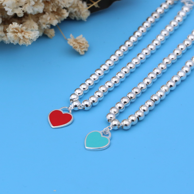 Bracelets Pendant Birthday-Gift Tiffany 925-Silver Blue Heart Women's Pink Enamel Beaded title=