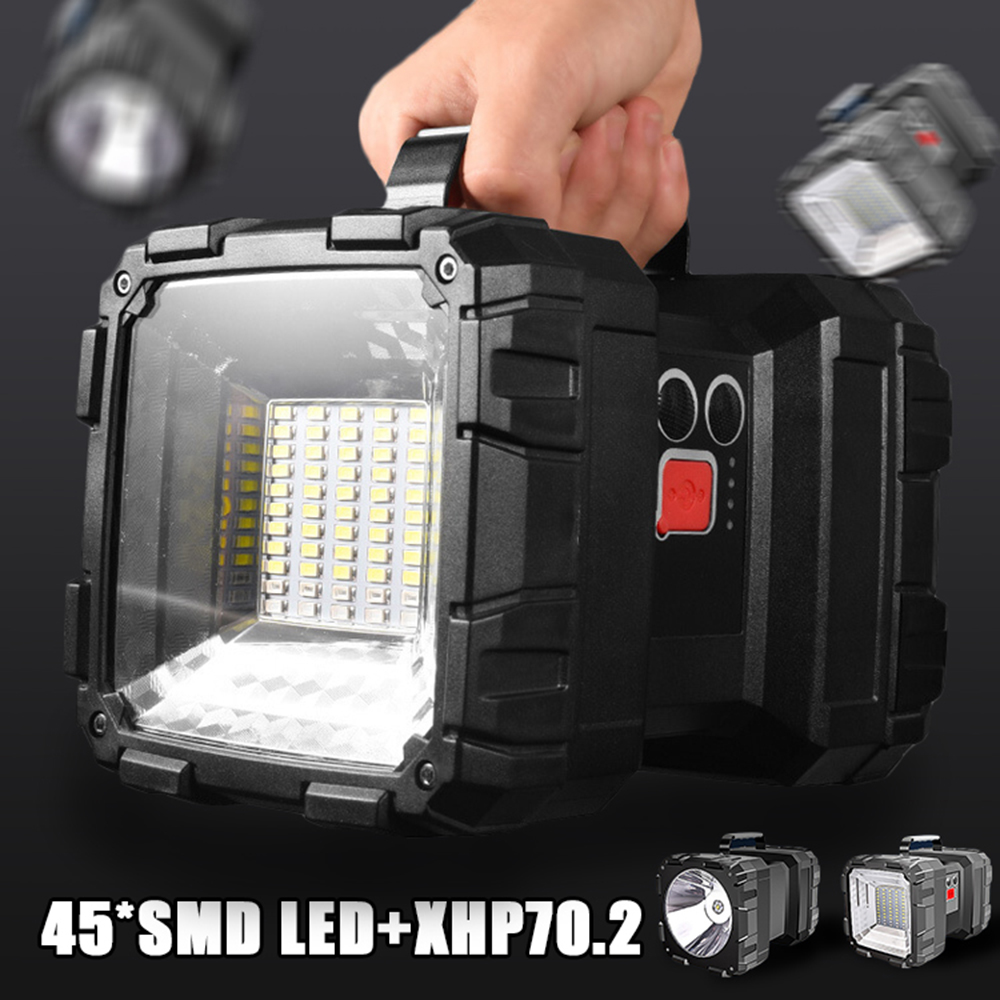 Super Bright XHP70.2 LED Searchlight Double Head Flashlight Warning Lamp Rechargeable Power Bank Function for Outdoor Lighting