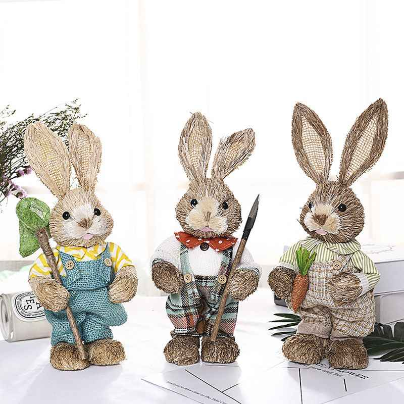 Cute Straw Rabbit Bunny Easter Decorations Holiday Home Garden Wedding Ornament