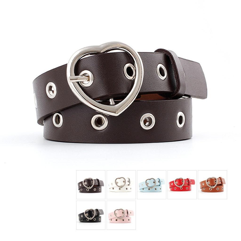 Fashion Women PU Leather Metal Heart Belt Female Cute Black Harajuku Belt Ladies Pants Party Dress Heart Belts For Jeans 916