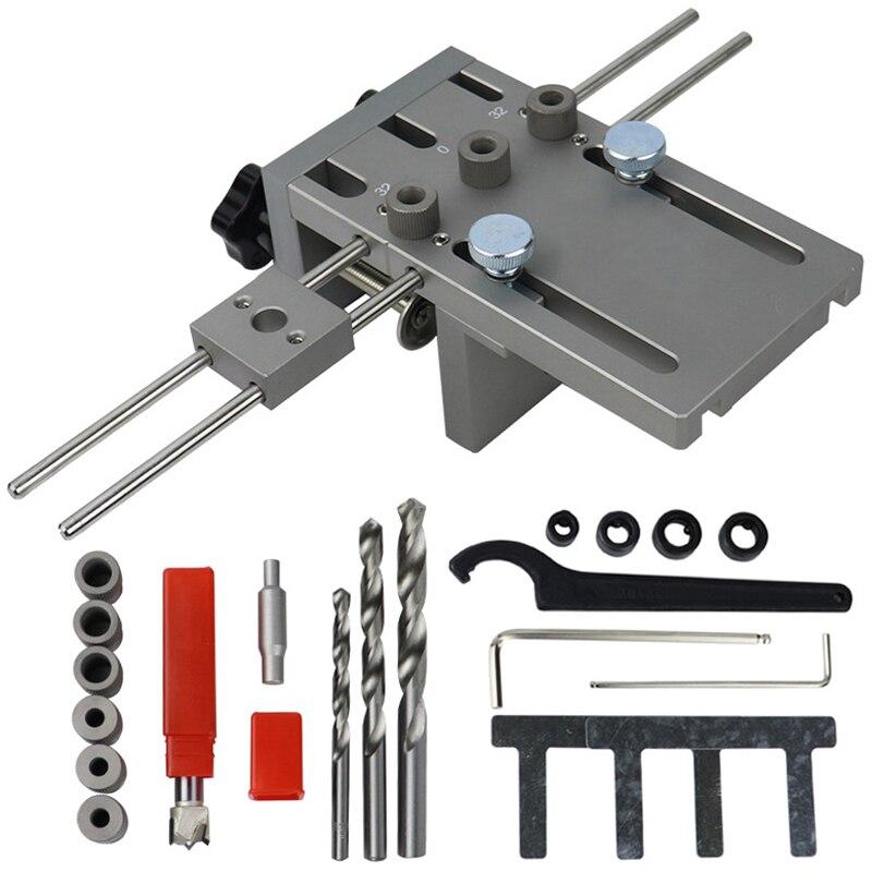 Aleaci/ón de aluminio 3 en 1 6 /· 8 /· 10 /· 15mm kit de punzonador de posicionamiento gu/ía de broca autocentrante para carpinter/ía de madera