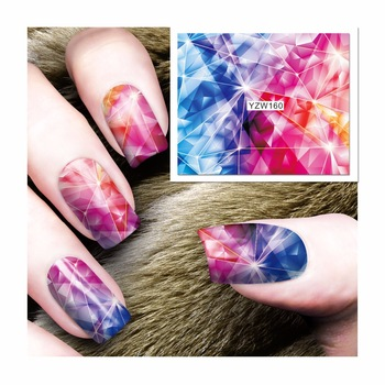 YZWLE 1 Sheet Colorful Magic Star Design Nail Art Sticker Water Transfer Decals Decoration 160
