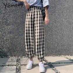 Зеленые клетчатые брюки с высокой талией, женские спортивные штаны harajuku, штаны-шаровары с эластичной резинкой на талии, летние корейские яп...