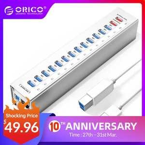 ORICO A3H13P2-SV, 13 разъемов, USB 3.0 HUB распределитель с 2 зарядными портами 5 В, 2,4 A, Быстрая зарядка/5 В, 1 A, Универсальный,серебряного цвета