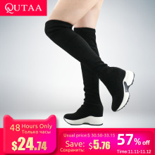 QUTAA Women Shoes Knee-Boots Stretch-Fabrics Over Autumn Winter Casual Height The Size34-43