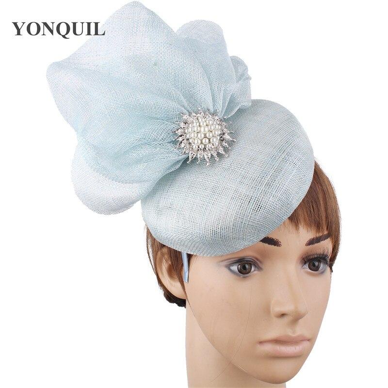 4-Layer sinamay Women Elegant bride fascinator Hat nice wedding millinery hat  Gorgeous headwear For Ladies party tea chapeau