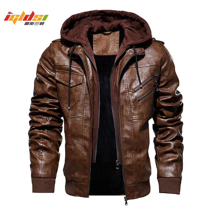 Men's Winter Warm Fleece Jackets and Coats Autumn Men Hat Detachable Leather Jackets Outwear Motorcycle Leather Jacket M-4XL