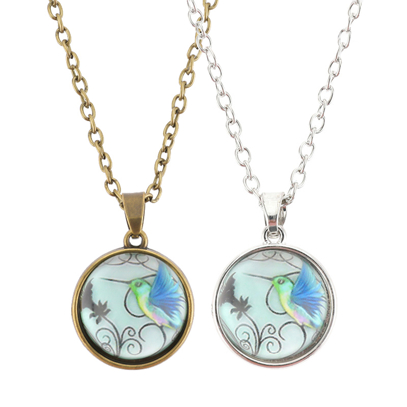 Fashion Universe Bird Double-Sided Glass Ball Pendant Necklace Silver Jewelry Statement Necklace