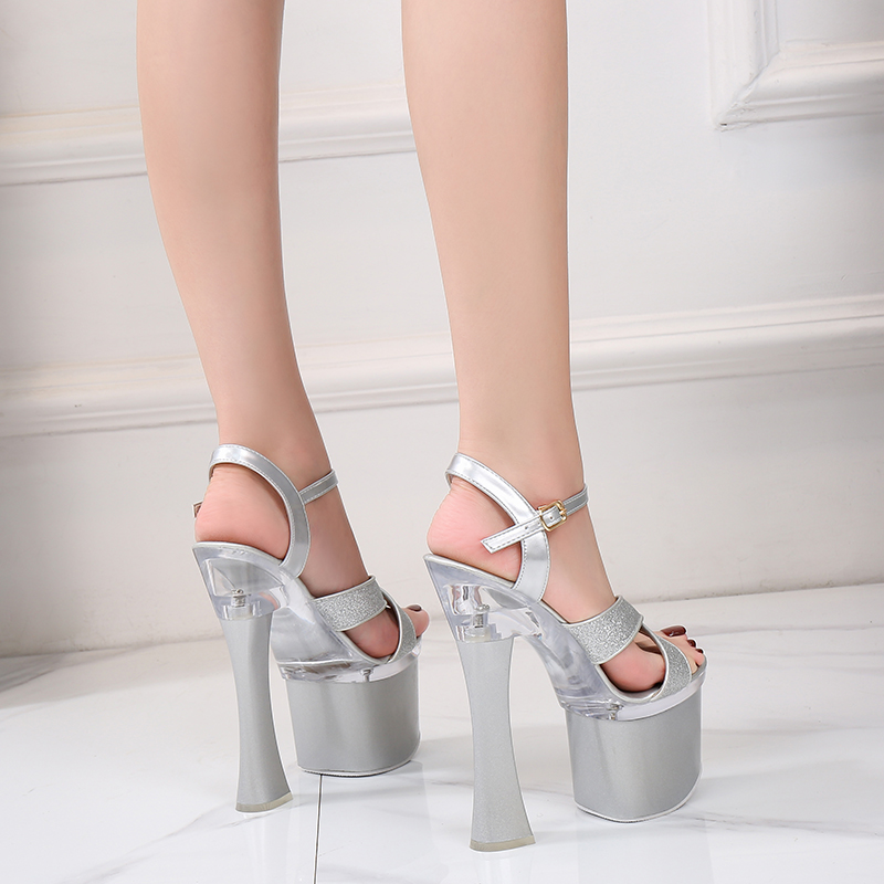 New Female Steel Pipe Dance Shoes Sandals Women Glitter Fashion Sexy High Heels 17.5CM Platform Party Wedding Summer Women Shoes
