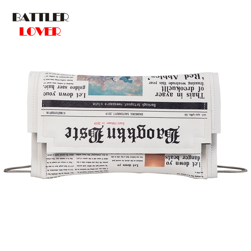 Envelope Bag Women 2020 New Personality Inkjet Newspaper Clutch Bags Females Shoulder Messenger Bag Girls Chain Evening Bags