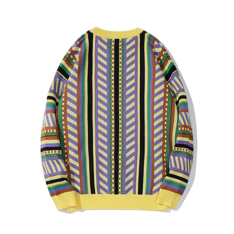 Plegie Striped Knitted Winter Pullover Sweaters Hip Hop Hipster Casual Sweater Streetwear Unisex Long Sleeve Loose Outwear Tops